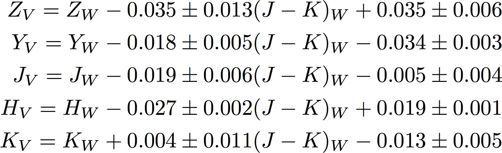 New VISTA-WFCAM equations